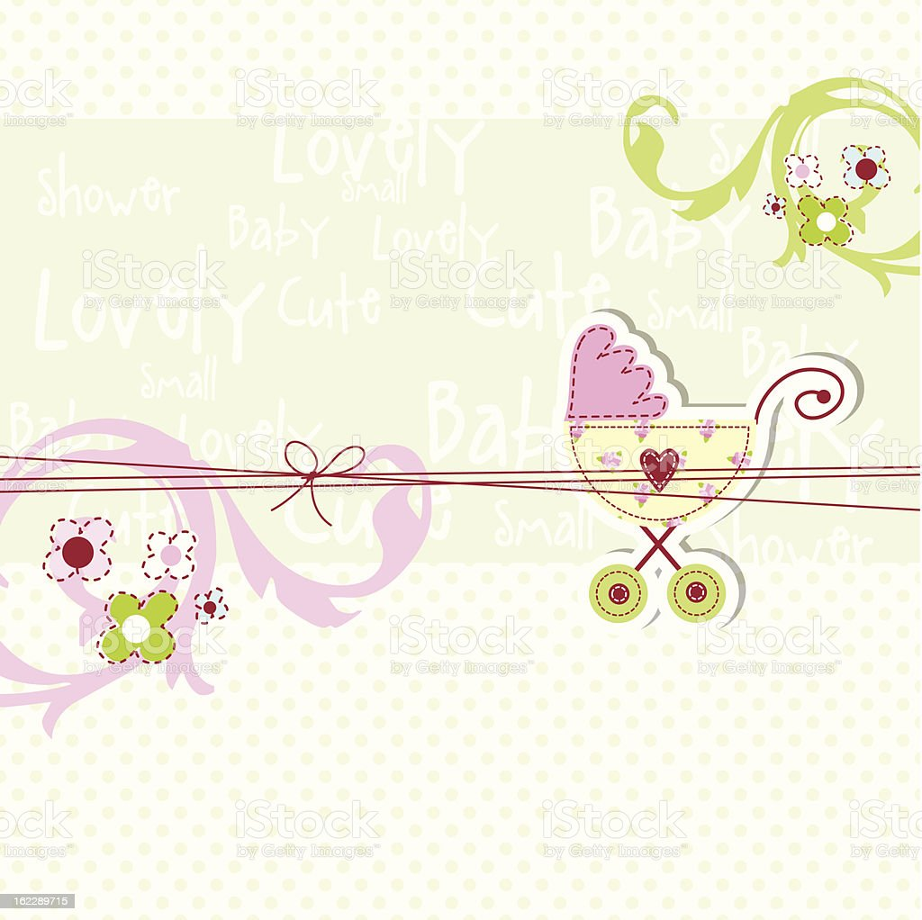 Square card template with clip art baby stroller and flowers royalty-free stock vector art