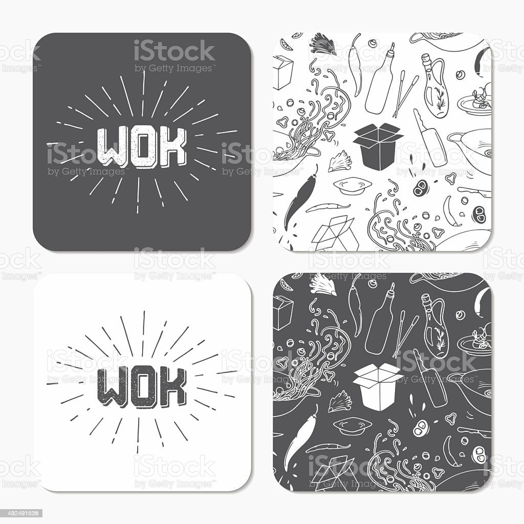 Square coaster templates with doodle wok pattern and vector art illustration