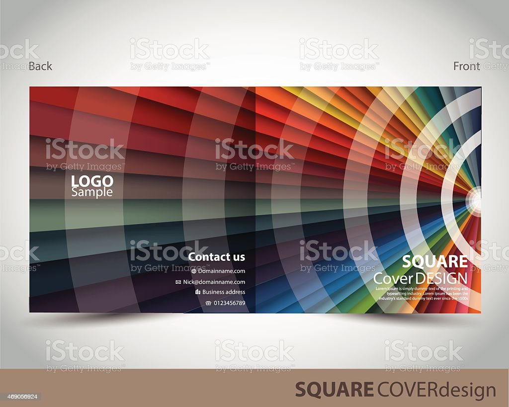 Square cover design made of different colors vector art illustration