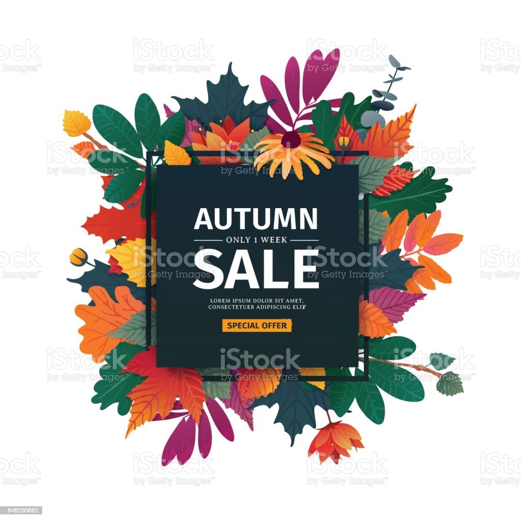 Square design banner with autumn sale icon. Discount card for fall season with white frame and herb. Promotion offer with autumnal  oak plant, maple leave and flowers decoration. Vector vector art illustration