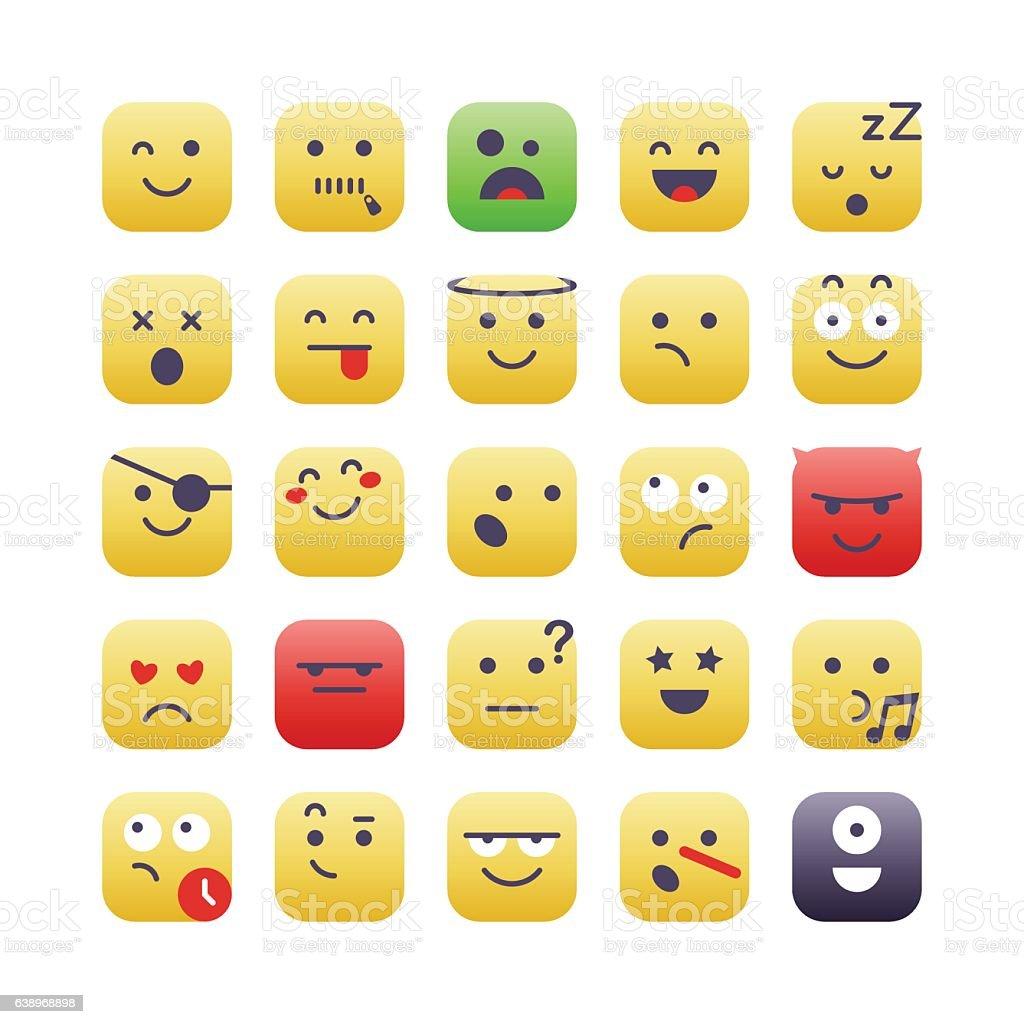 Square Emoji set 2 vector art illustration
