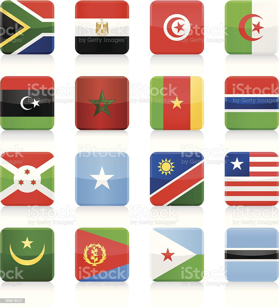 Square Flag Icon collection - Africa royalty-free stock vector art