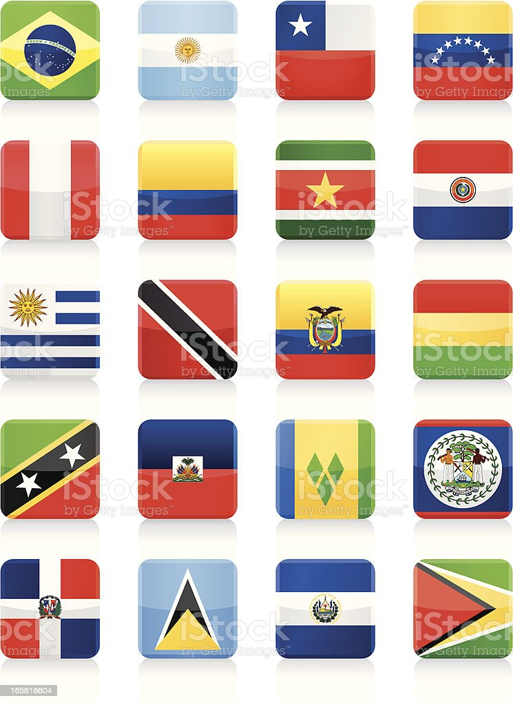 Square Flag Icon collection - South and Central America royalty-free stock vector art