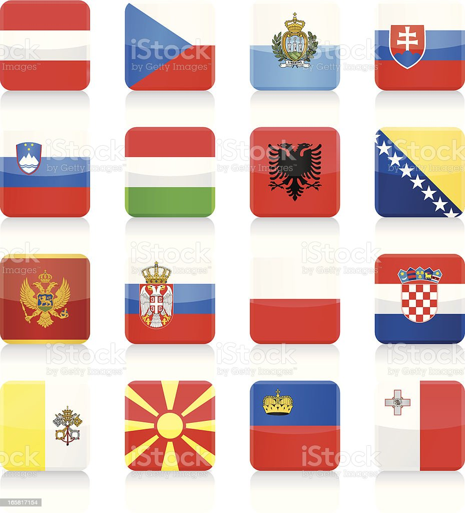 Square Flag icons - Central and Southern Europe royalty-free stock vector art