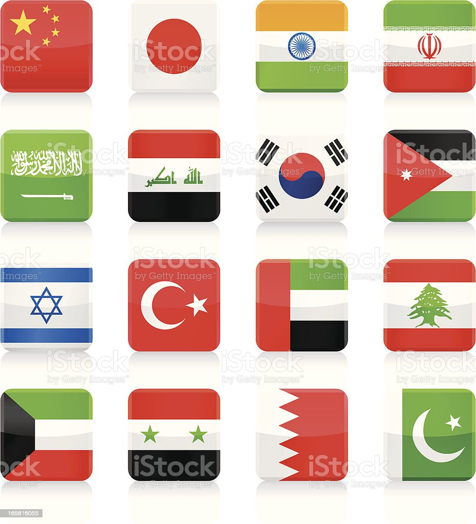 Square Flag Icons collection - Asia royalty-free stock vector art