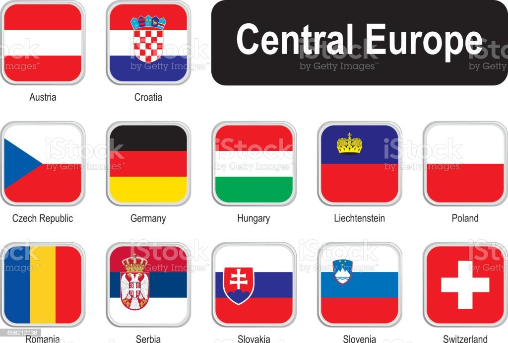 Square flags of central Europe vector art illustration
