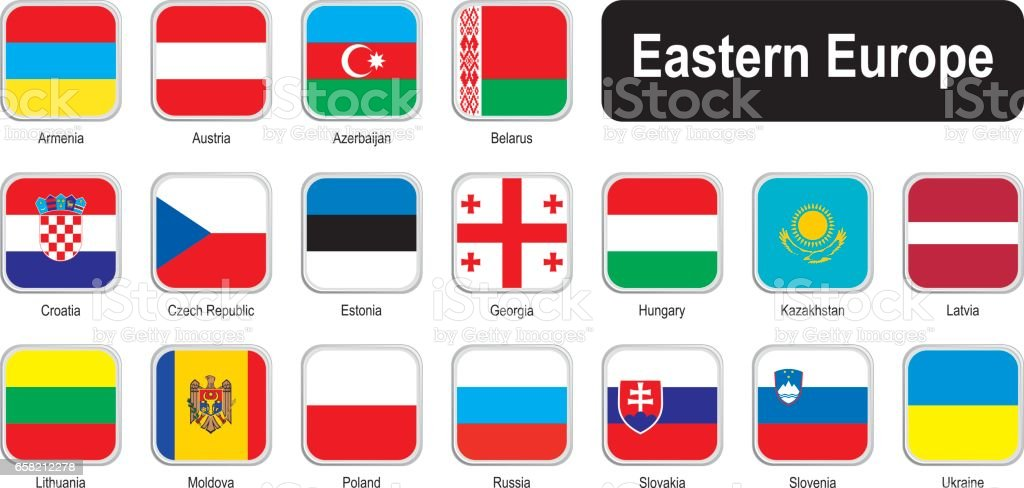 Square flags of eastern Europe vector art illustration