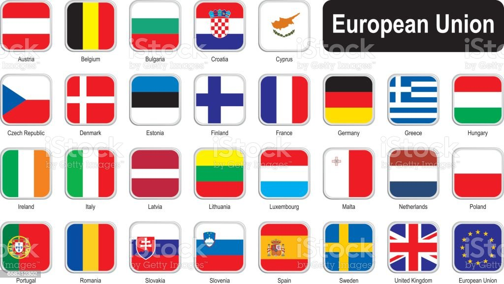 Square flags of European Union vector art illustration