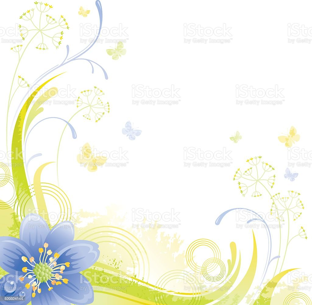 Square flower background with copyspace: blue Snowdrop vector art illustration