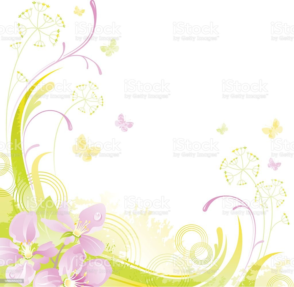 Square flower background with copyspace: Cherry Blossom royalty-free stock vector art