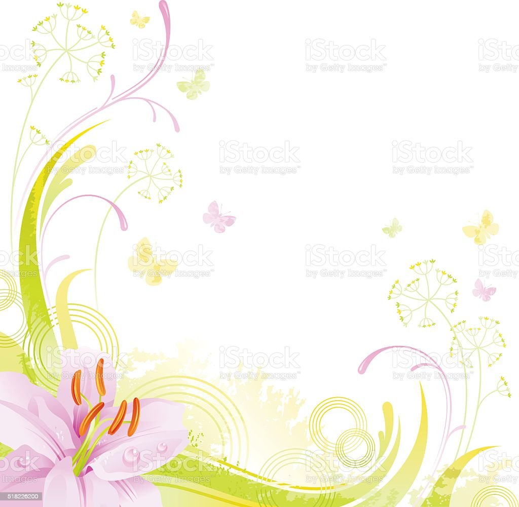 Square flower background with copyspace: pink Lilly vector art illustration
