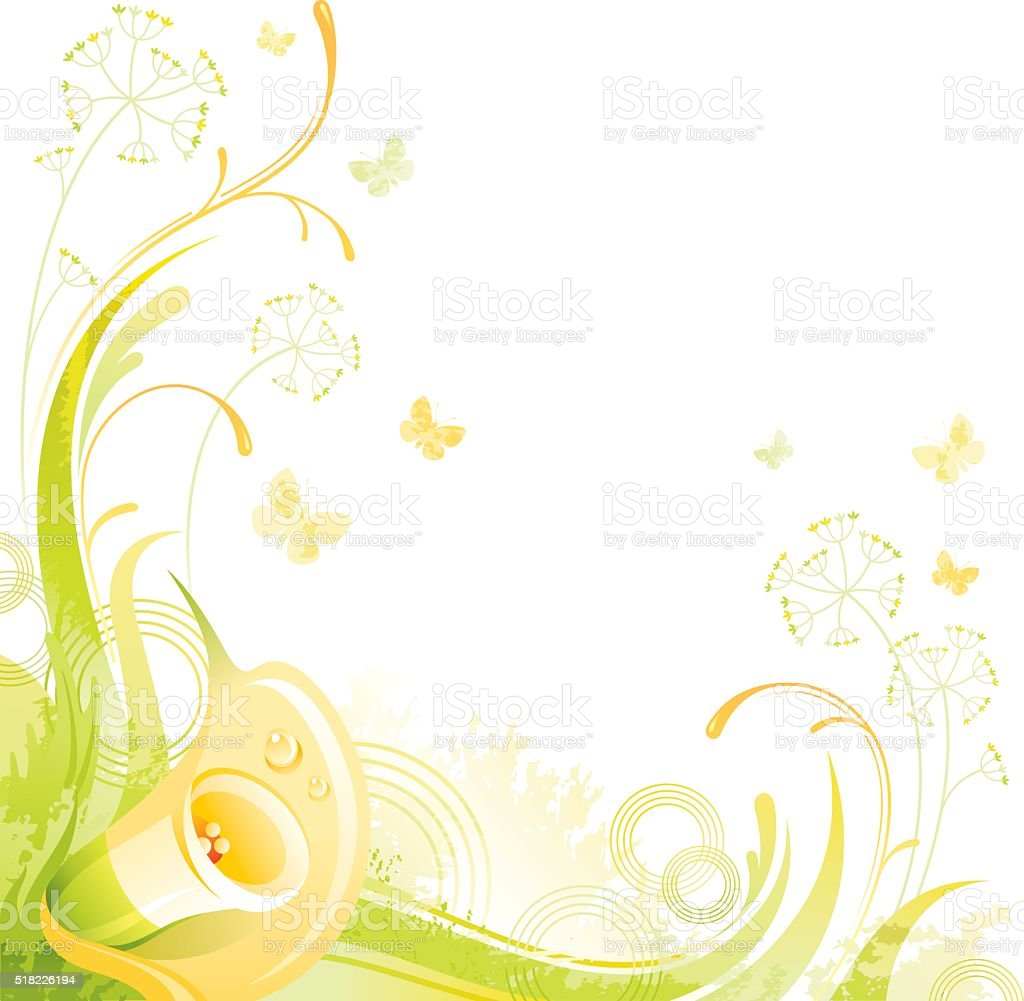 Square flower background with copyspace: yellow Calla vector art illustration