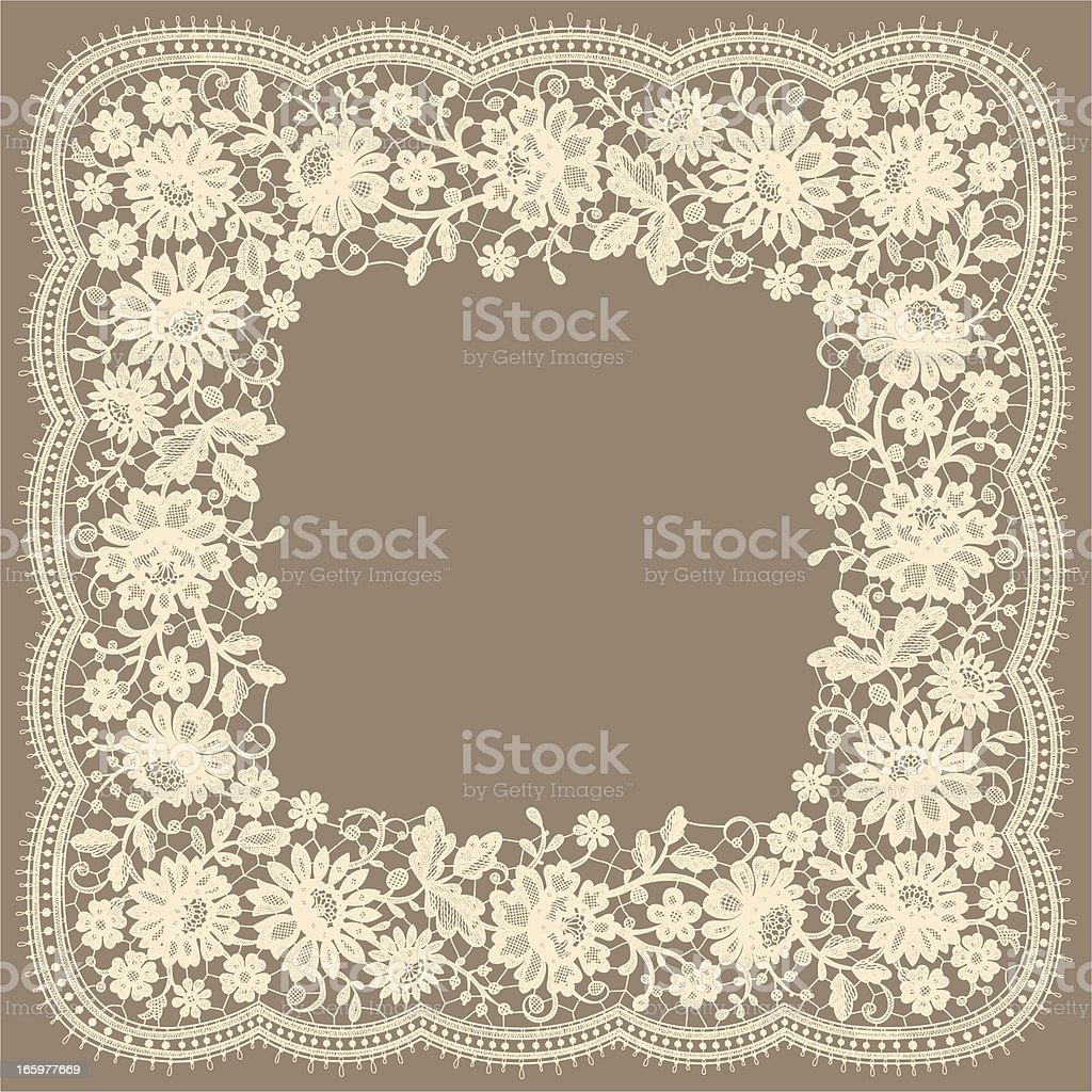 Square Frame. Floral Pattern. White Lace. royalty-free stock vector art