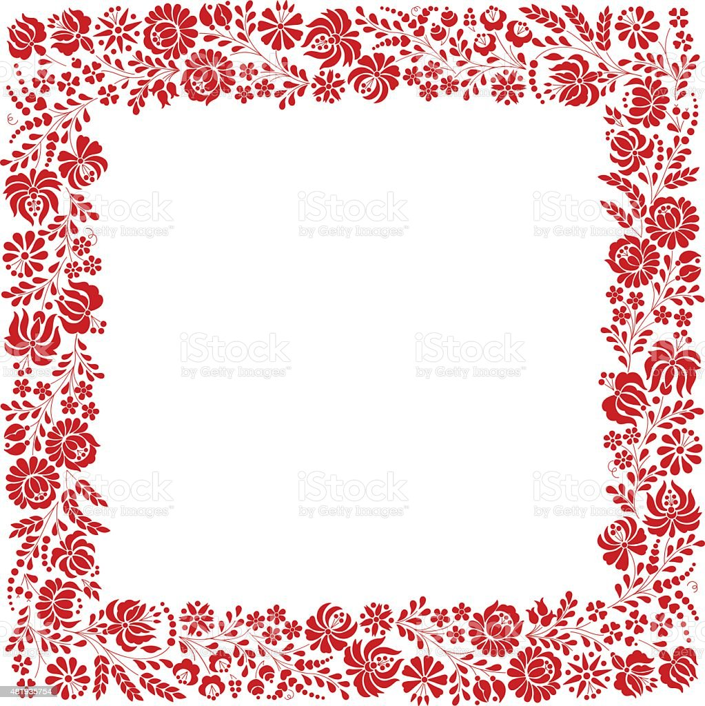 Square frame made from Hungarian embroidery pattern vector art illustration