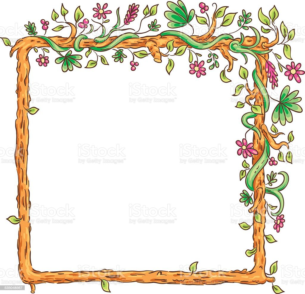 Square frame with tropical plants vector art illustration