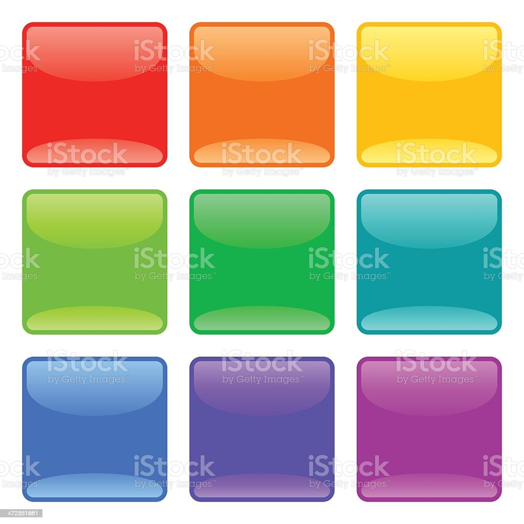 Square Glass Button Set royalty-free stock vector art