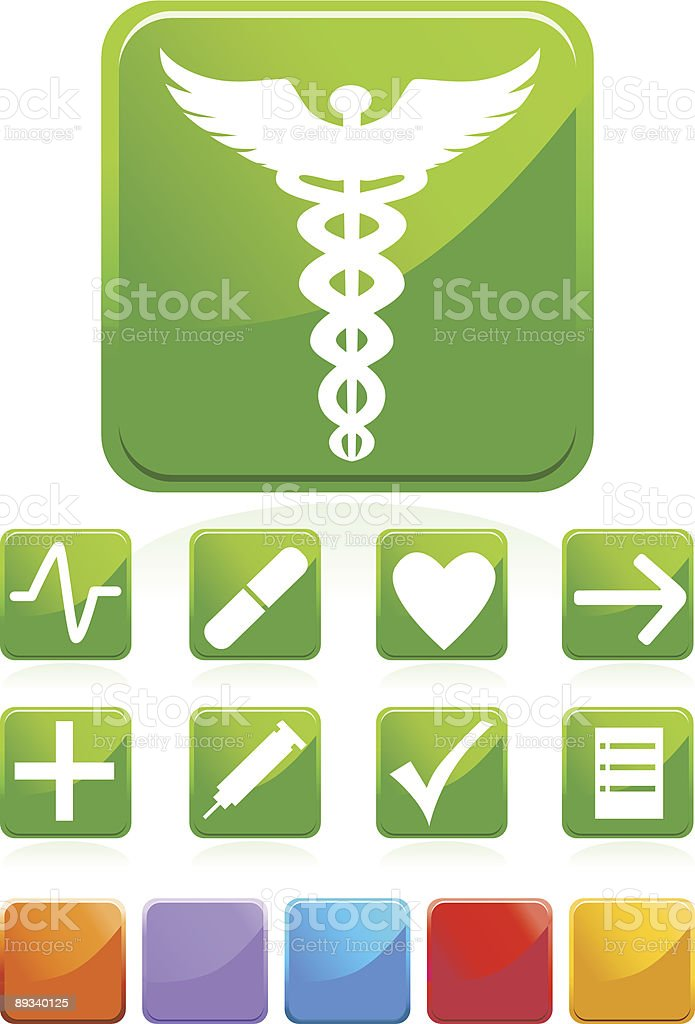 Square Glossy Medical Buttons royalty-free stock vector art