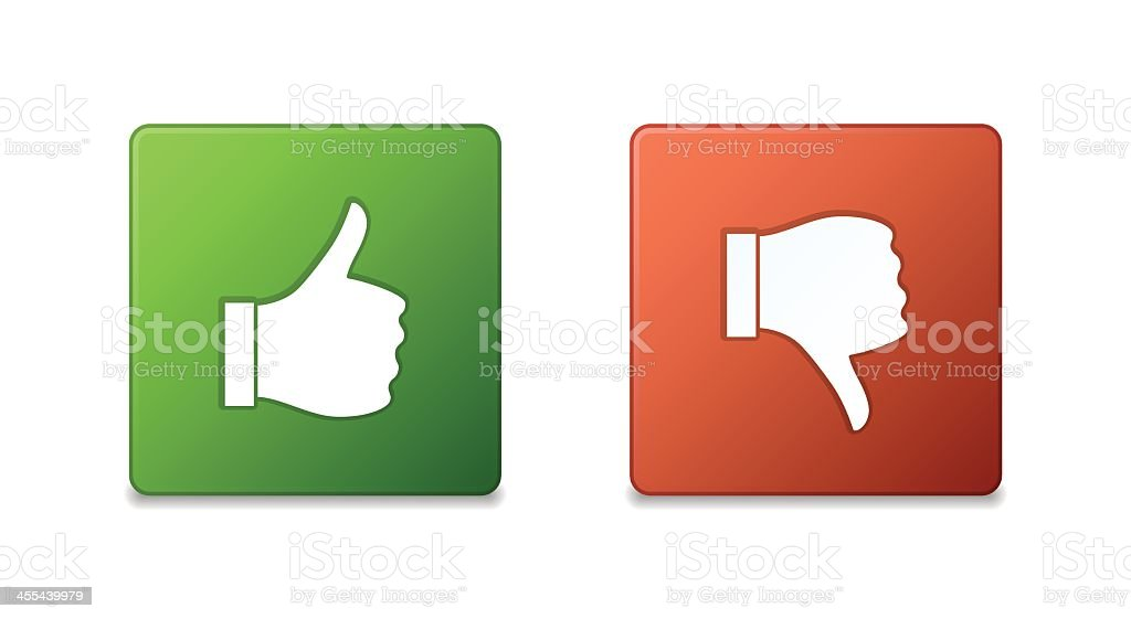 Square green thumbs up and red thumbs down buttons vector art illustration