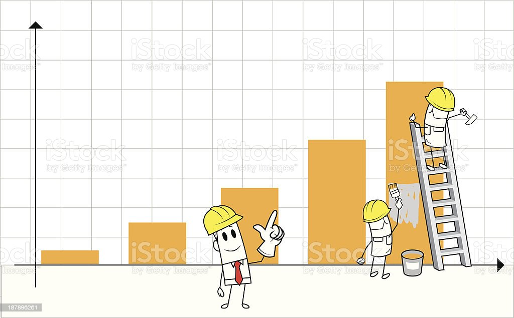 Square guy - Making charts royalty-free stock vector art