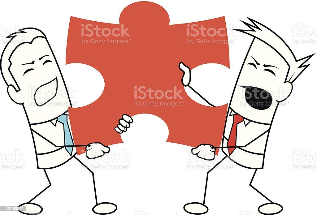 Square guy - They don't share puzzle piece. royalty-free stock vector art