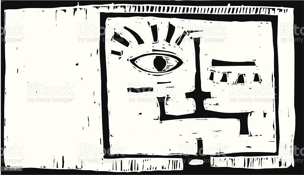 Square head vector art illustration