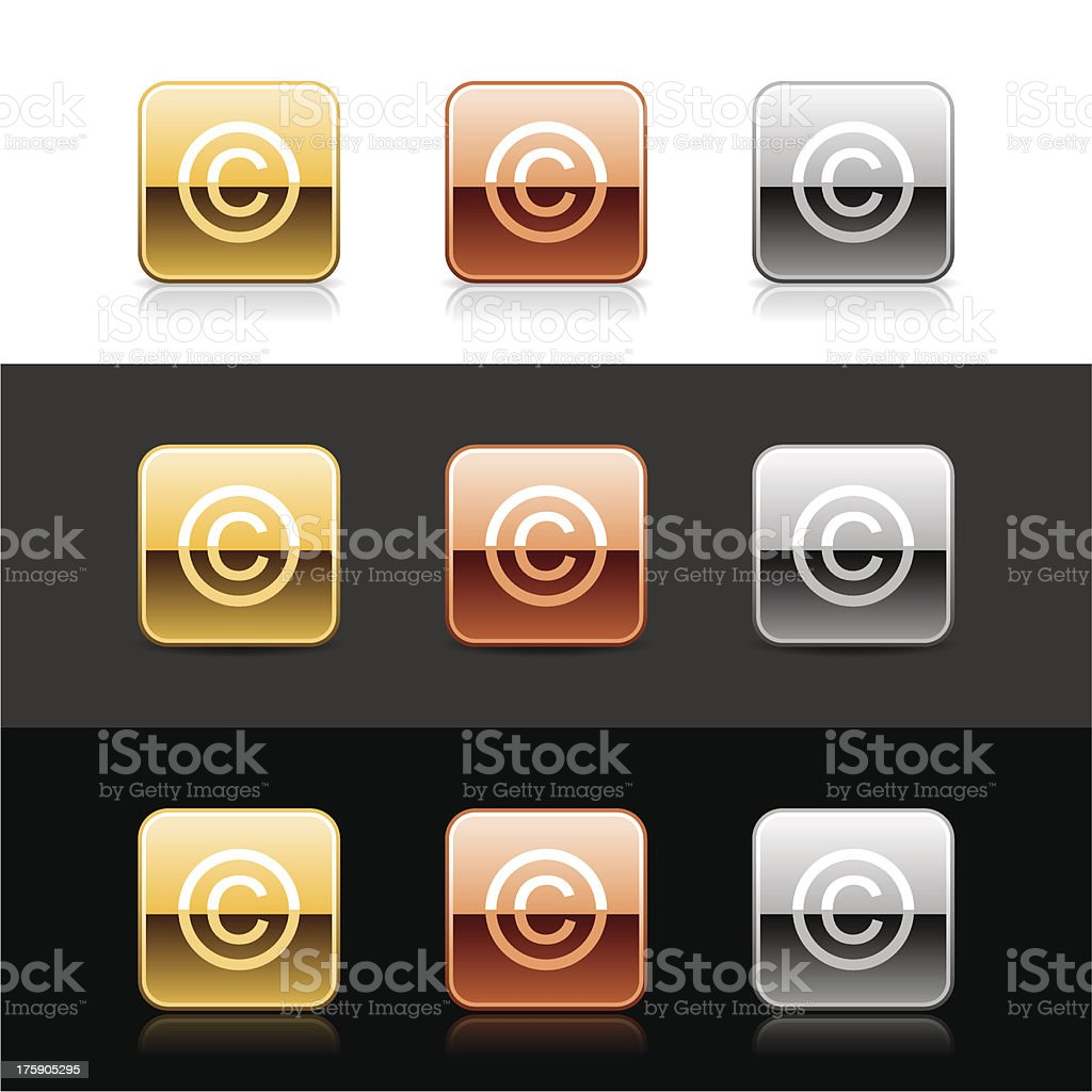 Square icon white copyright sign metal gold bronze silver button vector art illustration