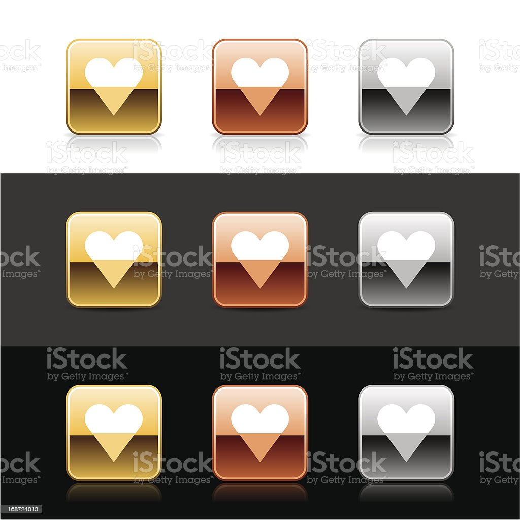 Square icon white heart sign metal gold bronze web button royalty-free stock vector art