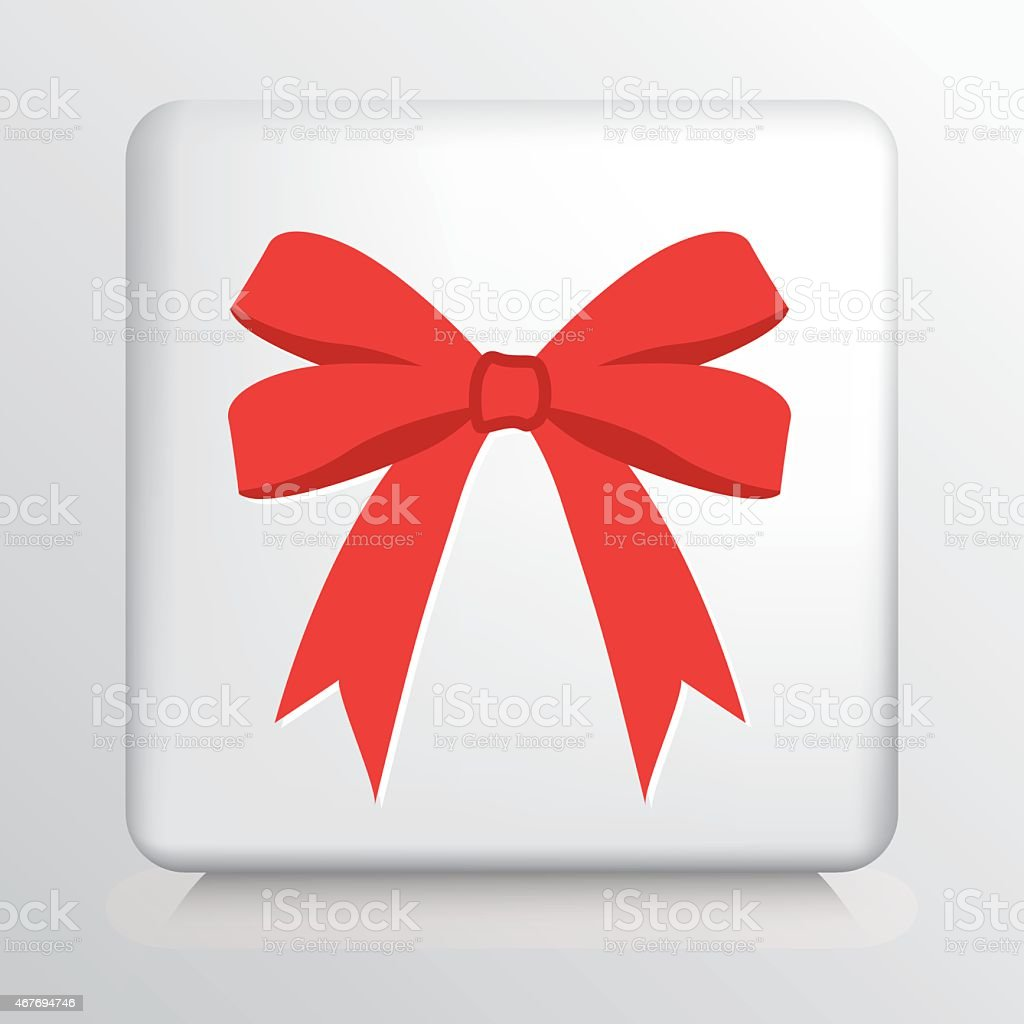 Square Icon With Big Double Looped Red Tied Bow vector art illustration