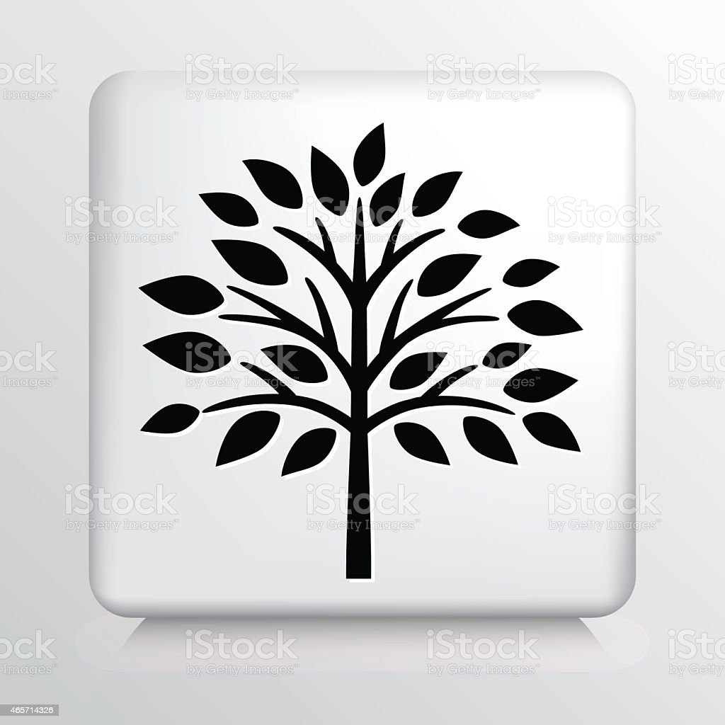 Square Icon with Black Fall Tree and Leaves Silhouette vector art illustration