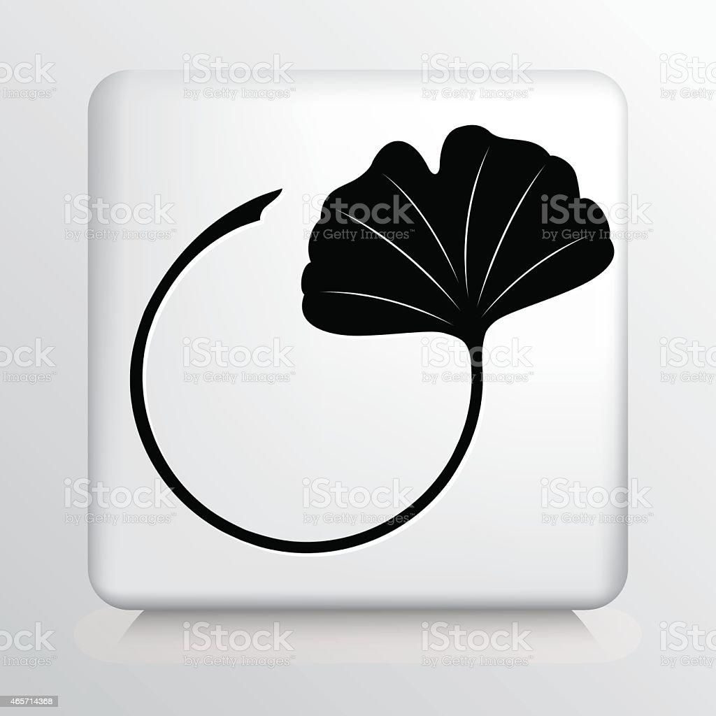 Square Icon with Gingko Leaf Black Silhouette vector art illustration