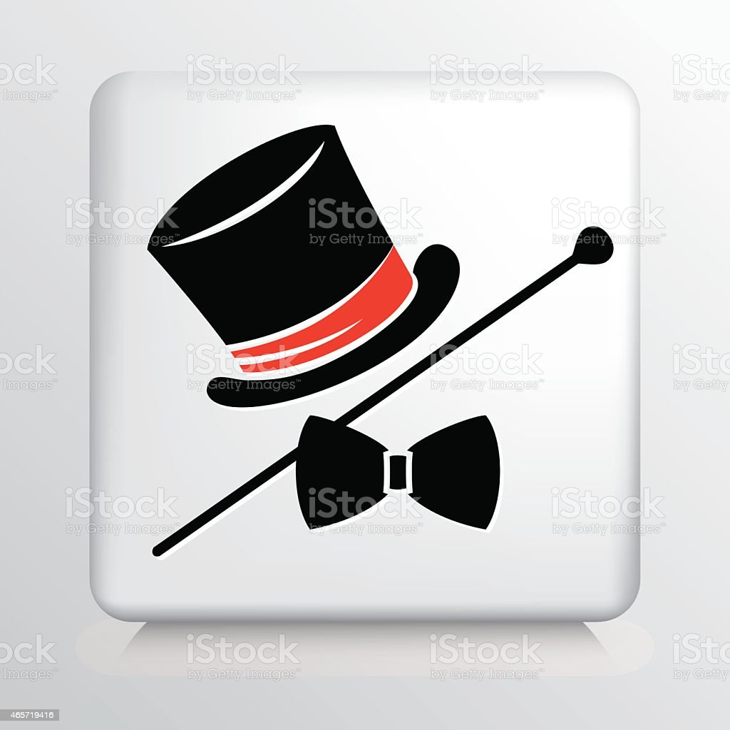 Square Icon with Magician Hat, Cane and Bow vector art illustration