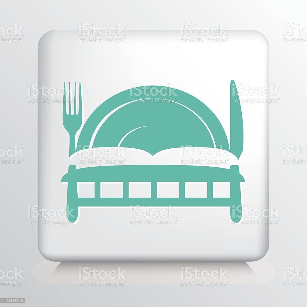 Square Icon with Teal Bed and Breakfast Symbol Silhouette vector art illustration