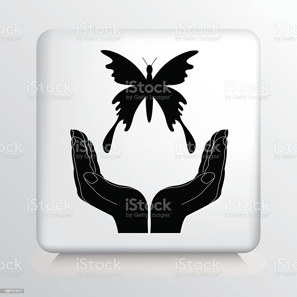 Square Icon With Two Hands Cupping a Flying Butterfly Silhouette vector art illustration