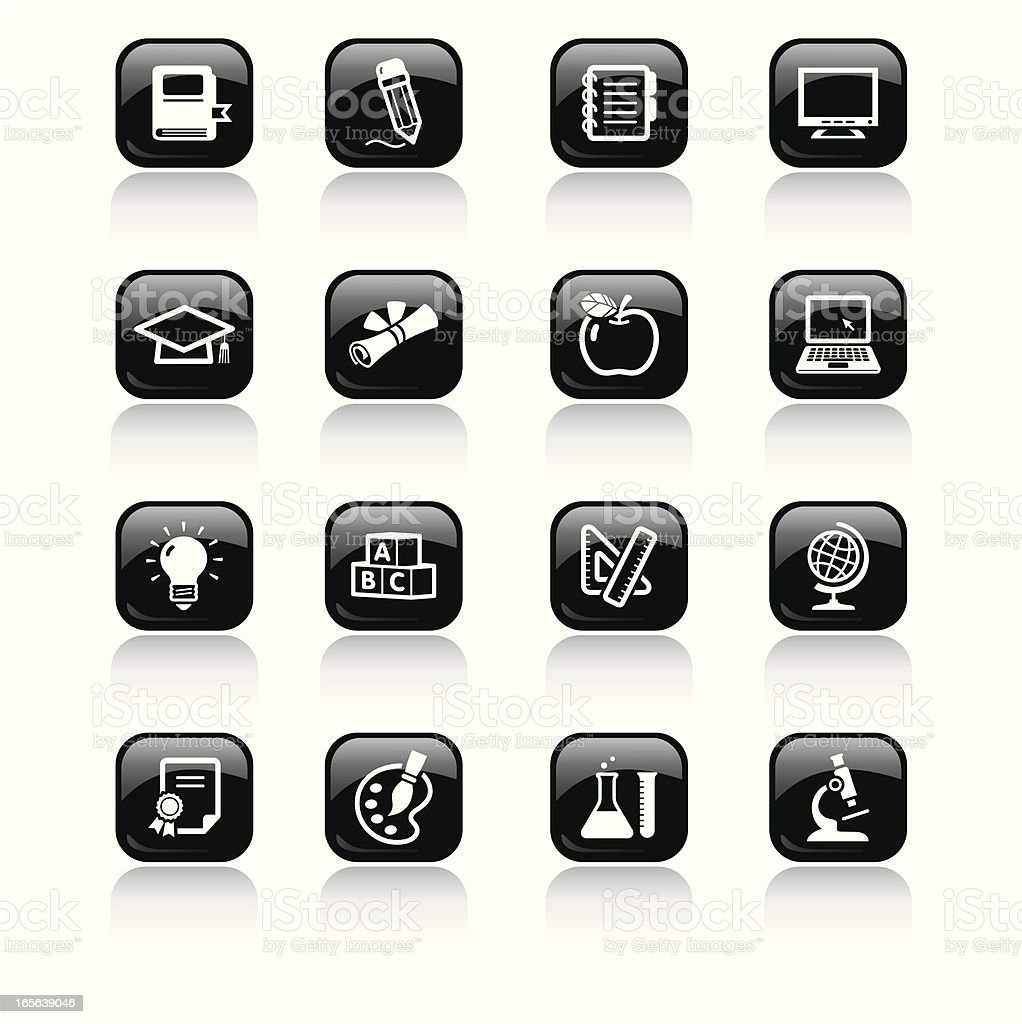 Square Icons Set   Education royalty-free stock vector art