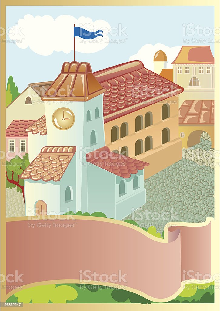 Square in small fantastic town royalty-free stock vector art