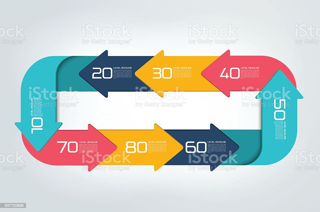 Square infographics divided in 8 parts arrows. vector art illustration
