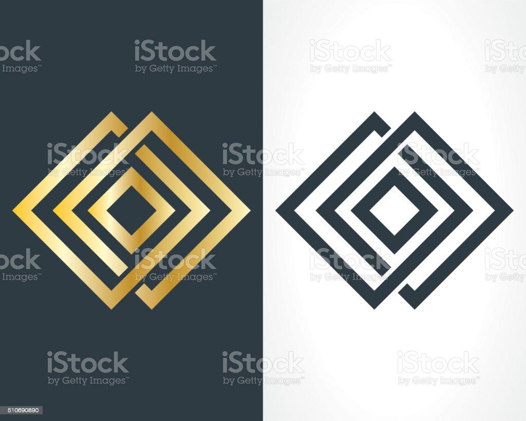square logo vector art illustration