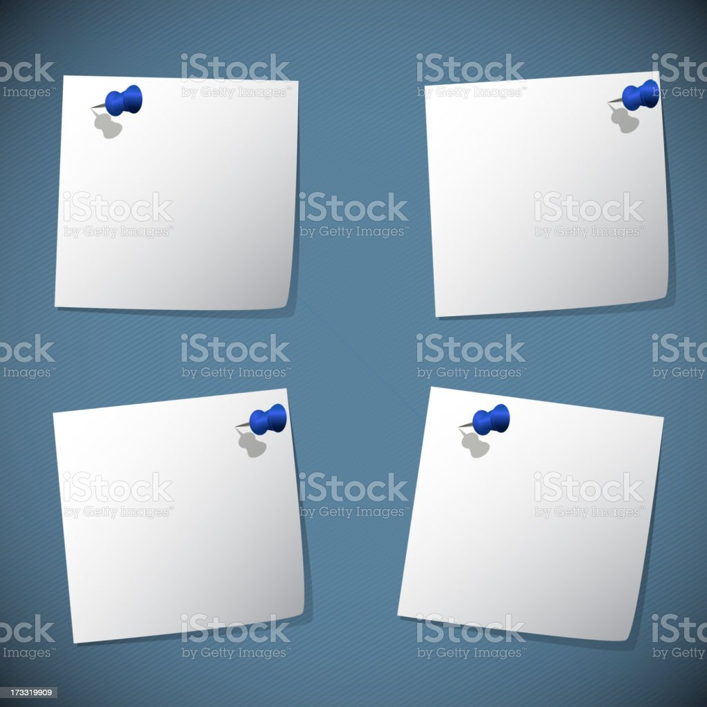 Square note papers with blue pin royalty-free stock vector art