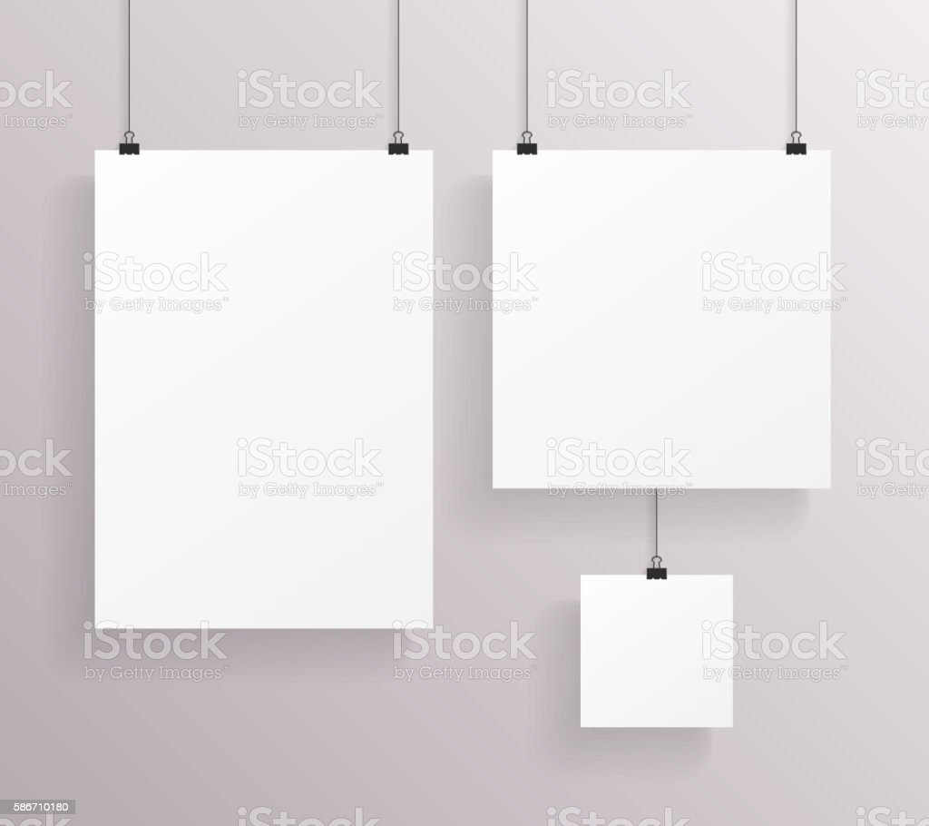 A4 Square Paper Big Little Realistic Poster Icon Set Template vector art illustration