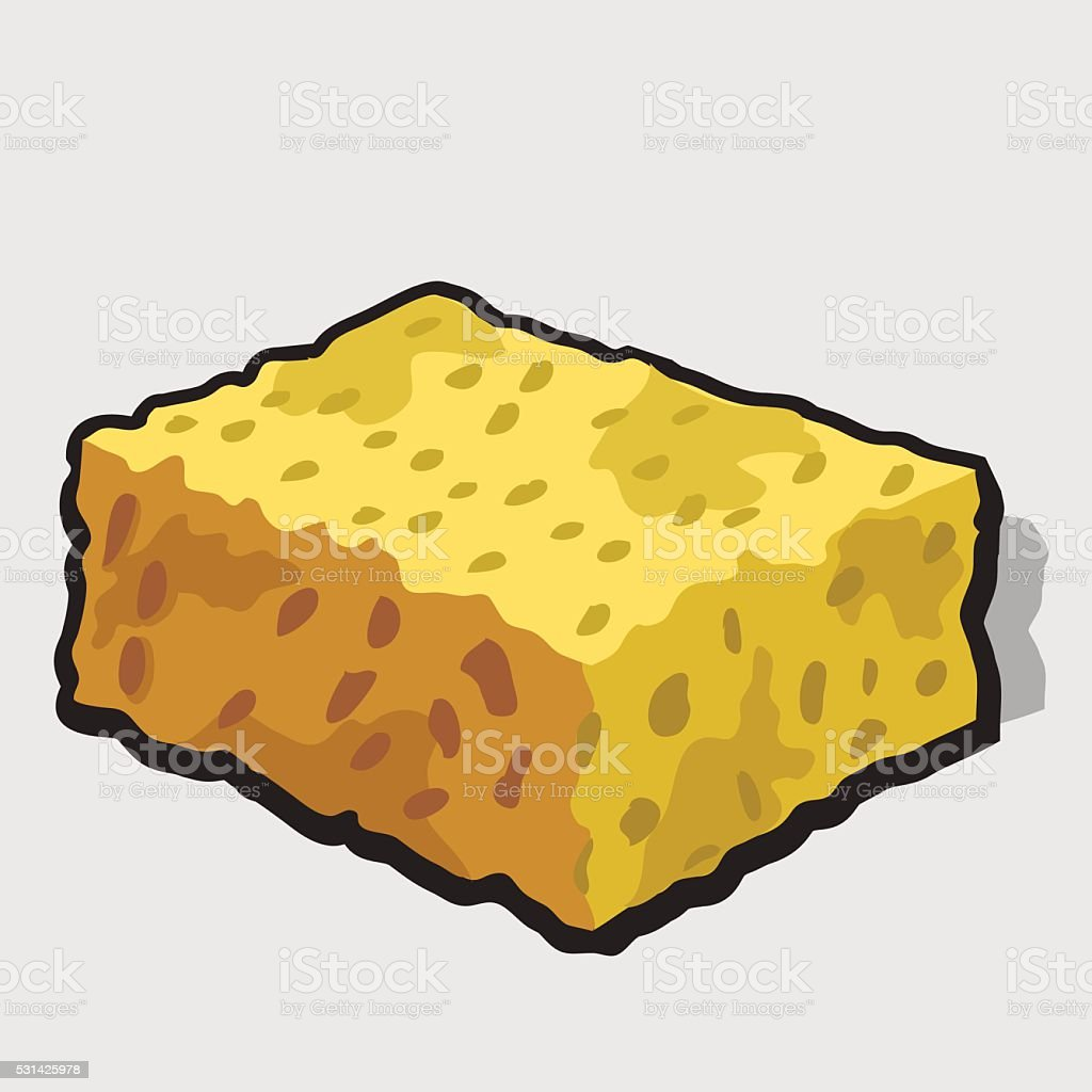 Square piece of yellow cheese with holes vector art illustration