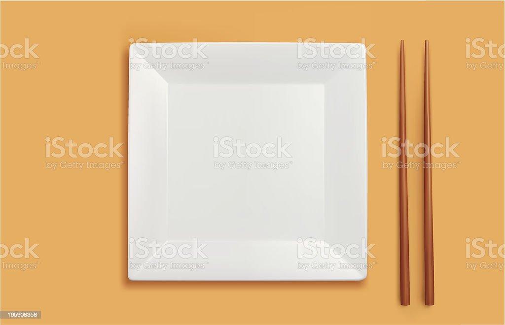 Square Plate And Chopsticks vector art illustration