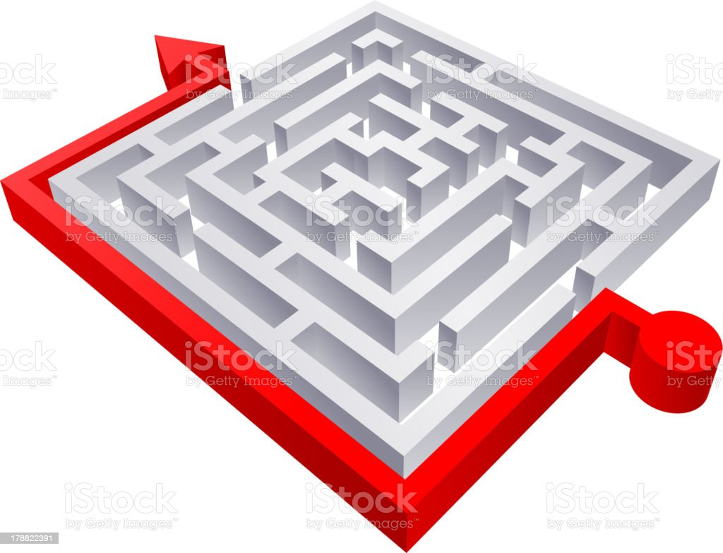 3D Square Red Solved Maze royalty-free stock vector art