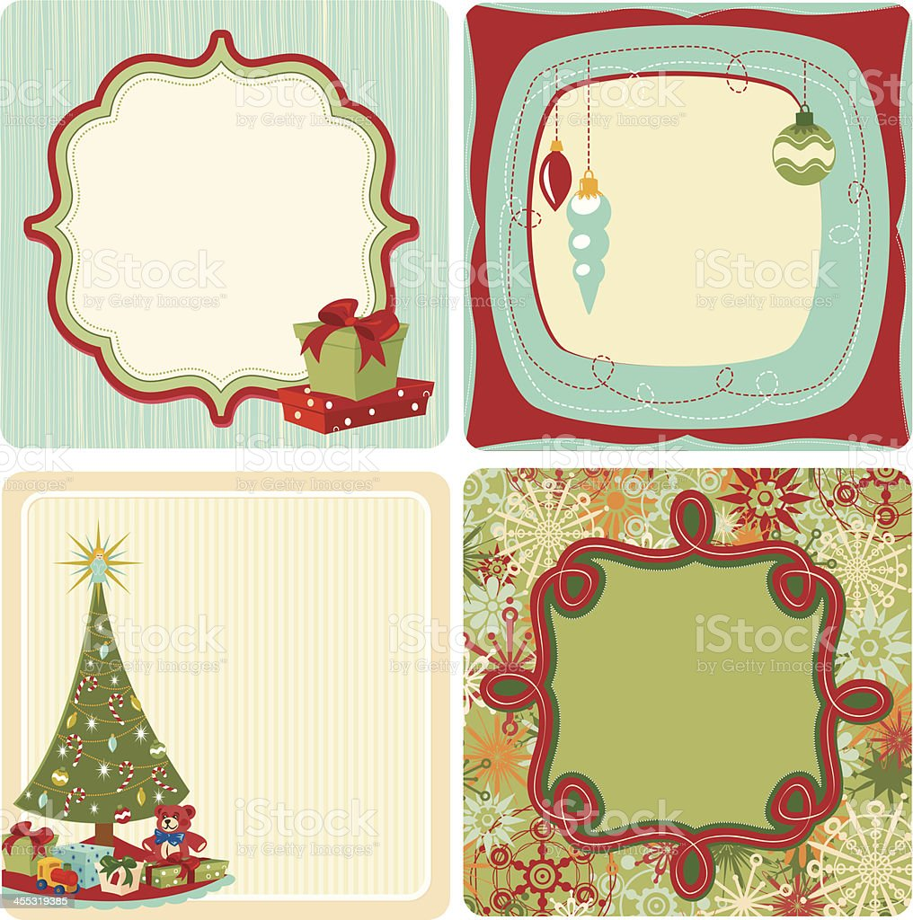 Square Retro Christmas gift tags royalty-free stock vector art