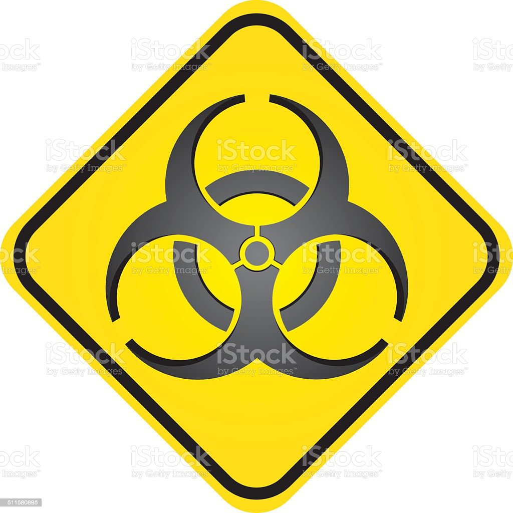 Square road sign, icon biohazard, hospital and chemical waste vector art illustration