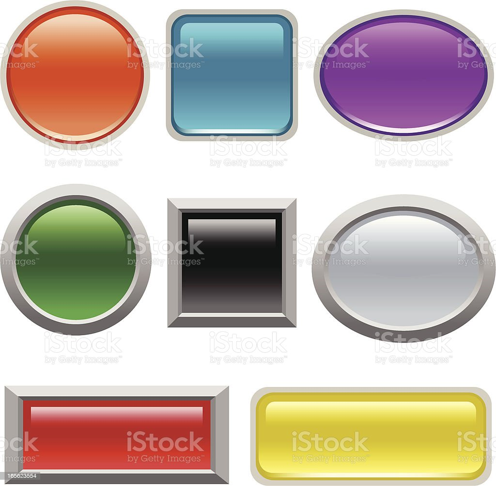 Square, round, oval and rectangular buttons in various color royalty-free stock vector art