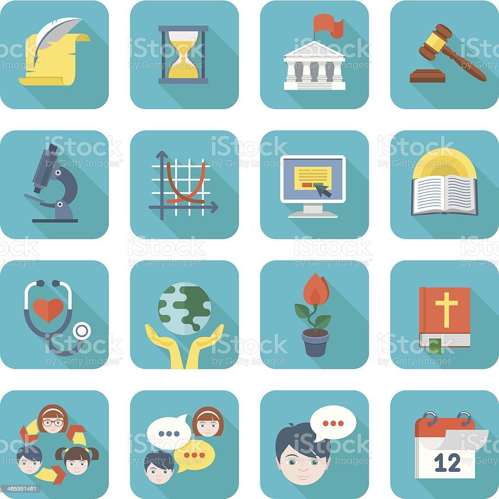 Square School Icons Set vector art illustration