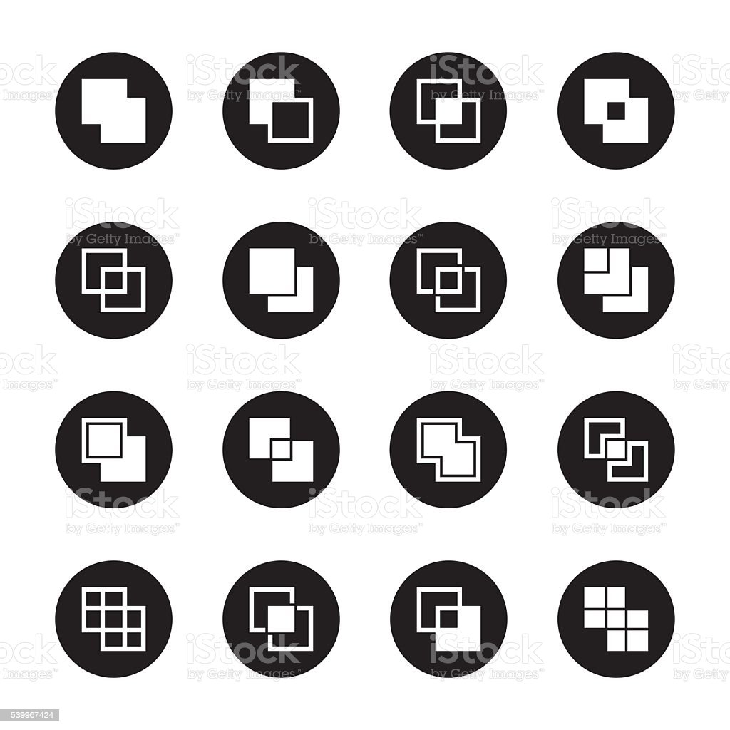 Square Shape Icons - Black Circle Series vector art illustration
