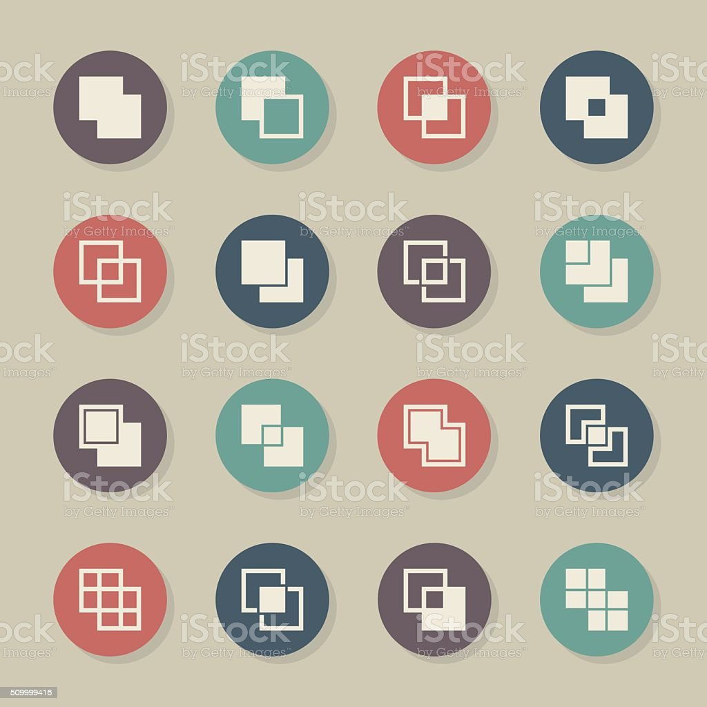 Square Shape Icons - Color Circle Series vector art illustration