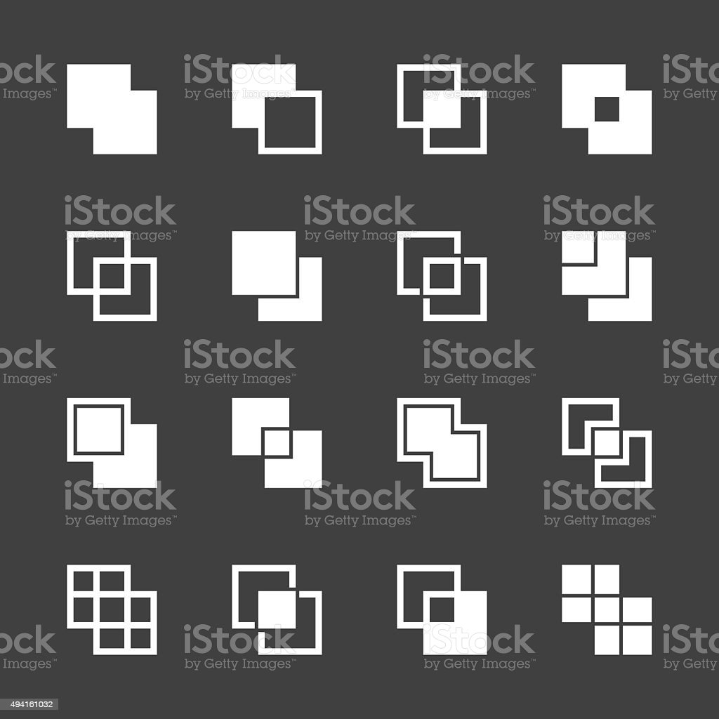 Square Shape Icons - White Series vector art illustration