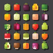 square shaped vegetables icon set